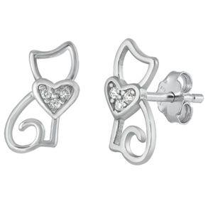 .925 Sterling Silver Clear CZ Cat Stud Earrings